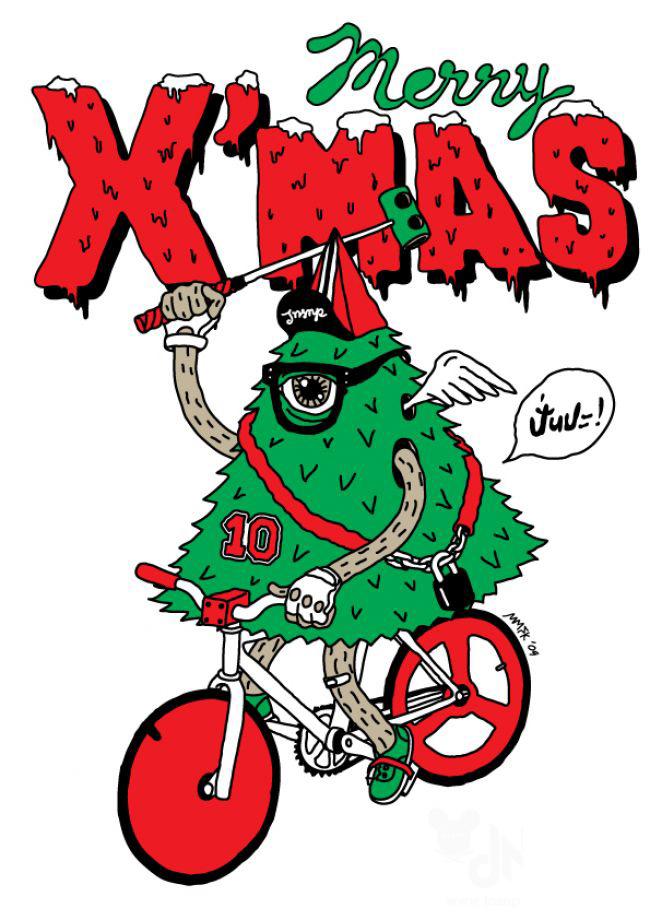 Karácsonyi kerékpáros képeslapok
