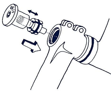 Az A-head-set típusú kormánycsapágy egy speciális dugóval állítható be...