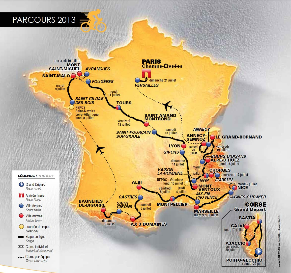 A 100. Tour de France útvonala