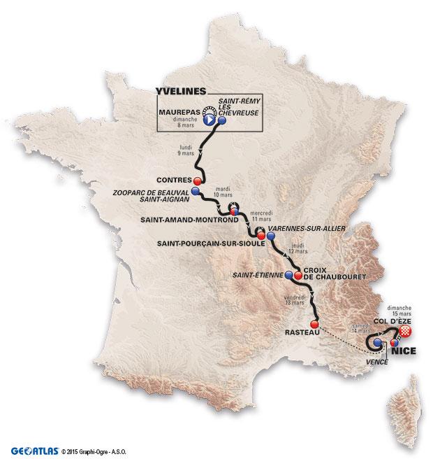 A Párizs-Nizza útvonala