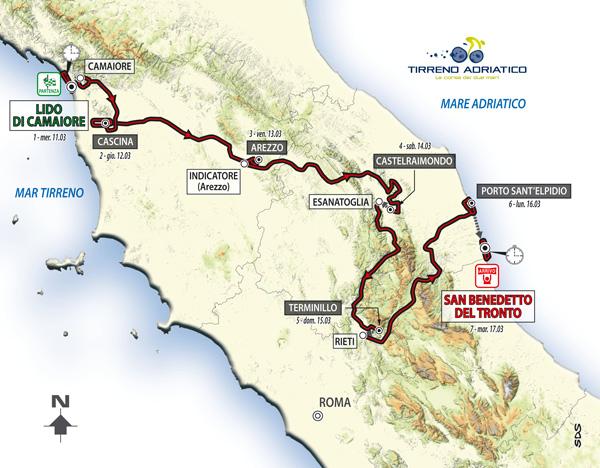A Tirreno-Adriatico útvonala