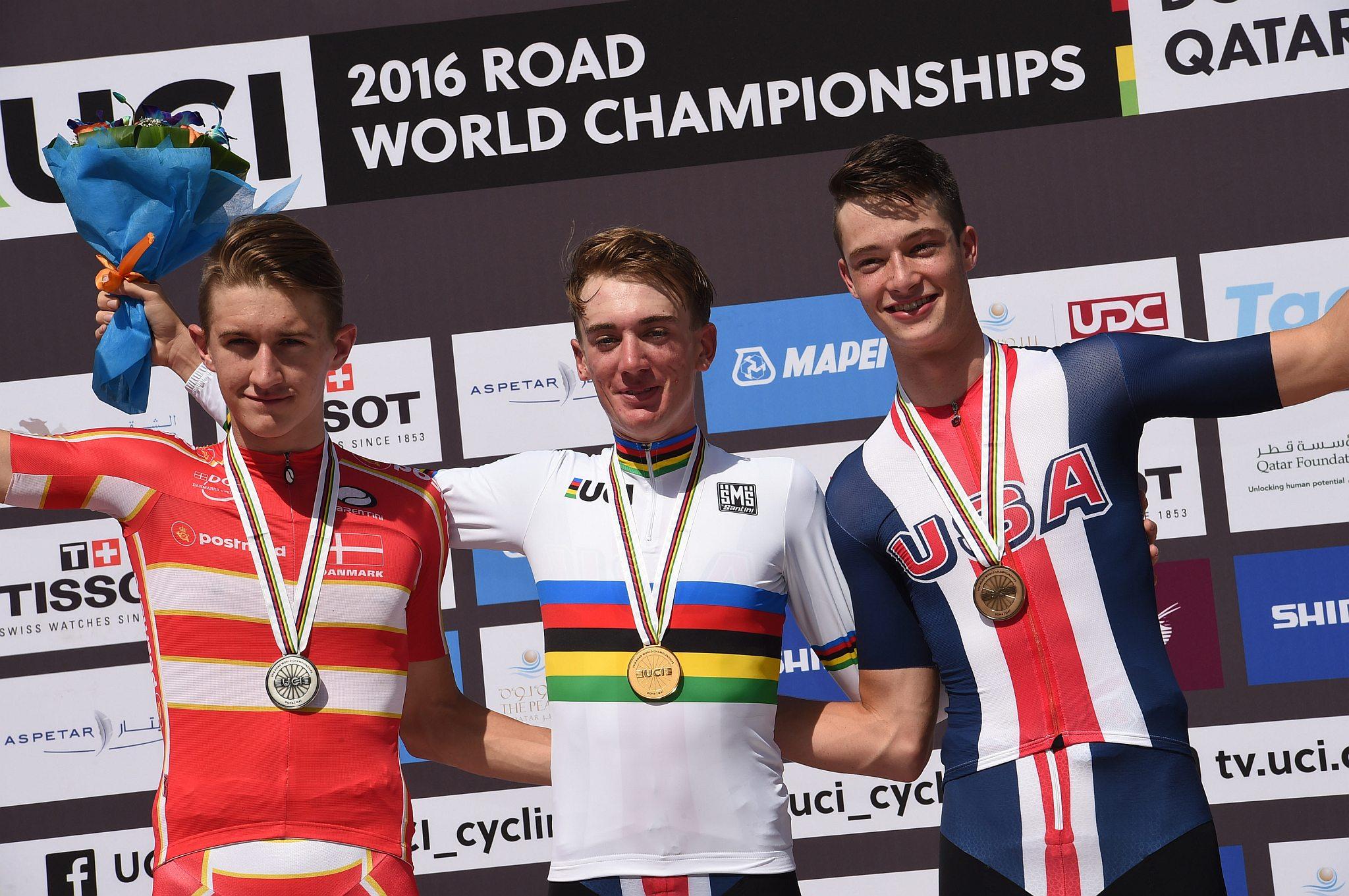 11-10-2016 World Championships Junior Man Cronometro; 2016, Usa; 2016, Danimarca; Mcnulty, Brandon; Garrison, Ian; Bjerg, Mikkel; Doha;