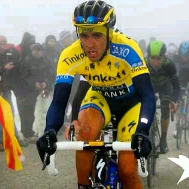 """Alberto Contador ezt a képet rakta ki a szakasz után Facebook oldalára, ezzel az üzenettel: """"a képen látható, hogy 10 évet öregedtem tegnaphoz képest."""""""