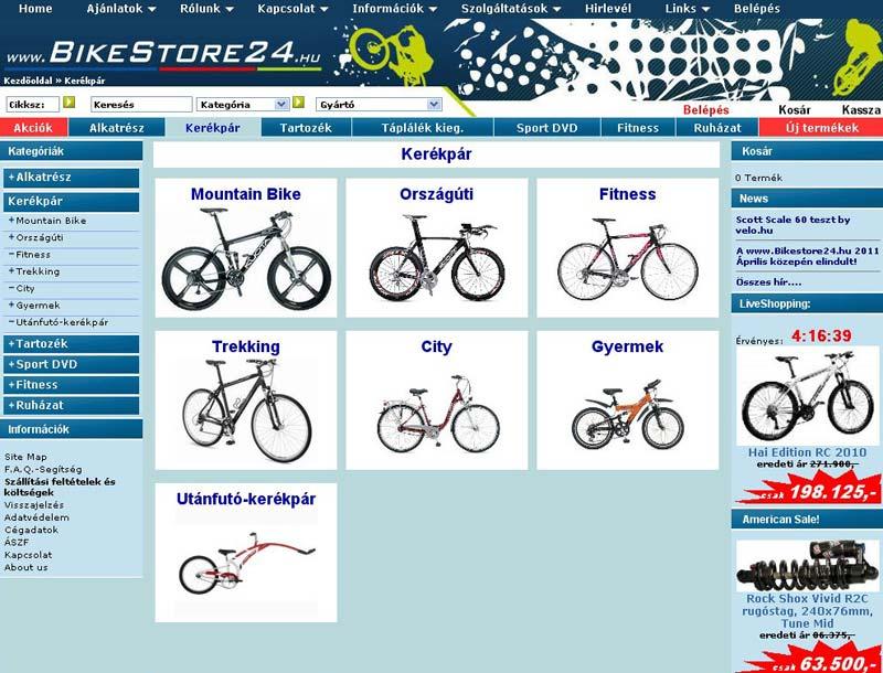 Kerékpárok terén mindenféle stílus és felhasználási terület képviselve van