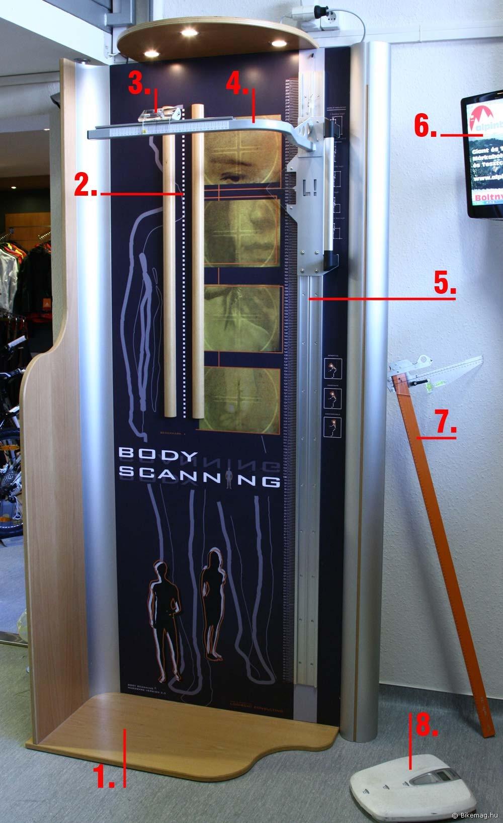 A Body Scanning mérőállomás részei: 1. a mérőeszköz (mérőkeret) maga; 2. a test szimmetriatengelyével egybe eső referenciavonal; 3. mérőlézer; 4. a mérőlézer mozgatható kerete; 5. a keret vezetősínje, melyen függőleges irányban elmozdulhat; 6. kijelző monitor; 7. mérővonalzó a kerékpár beállításához; 8. Tudjuk, mit ettél tavaly nyáron…