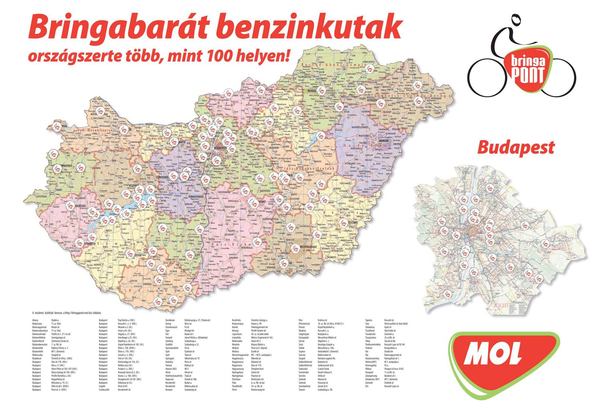 Az országban 100 bringabarát MOL benzinkút lesz