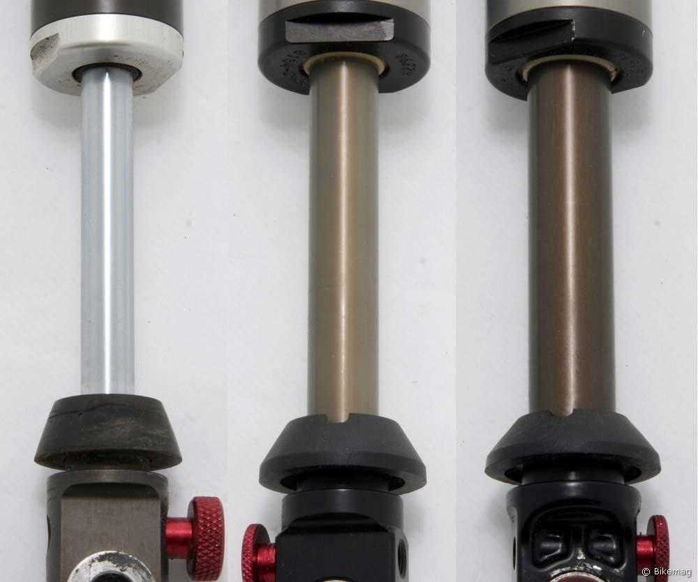 10 év alatt a becsúszó 9,5-ről 15,9 mm átmérőjűre hízott. Balról jobbra: Vanilla RC, DHX 5.0, DHX RC4