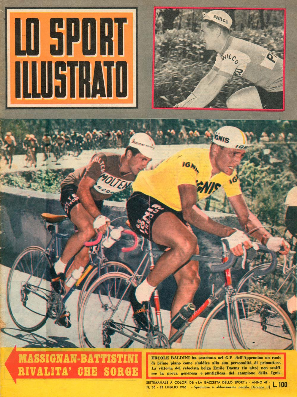 A Lo Sport Illustrato címlapján, 1960 júliusában. Az akciókép a Gran Premio dell'Appenninón készült. Ercole Baldini (aki 1958-ban a profi vb-t nyerte) támad, Mario teszi a kereket. A versenyt később egy belga sprinter (!) Emile Daems nyeri - lásd a fenti képet. A Lo Sport Illustrato egyébként a rózsaszín sportnapilap a Gazzetta dello Sport színes hetilapja volt. a Kerékpársport népszerűségét az is jelzi, hogy a kiadványban mely sportok, hány oldalt kaptak: kerékpár: címlap + 13, (ebből 3 pálya), labdarúgás: 8, atlétika: 3, agyaggalamb-lövészet: 1, vitorlázás: 2, vívás: 2, ökölvívás:1, autó-motorsport: 3, tenisz: 2, plusz 5 oldal rövid hír - sportolók házasodnak, gyermekük születik, meghalnak, a villamosipari dolgozók éves túraösszejövetele elmarad, illetve egy oldal keresztrejtvény és bélyeggyűjtő-rovat…
