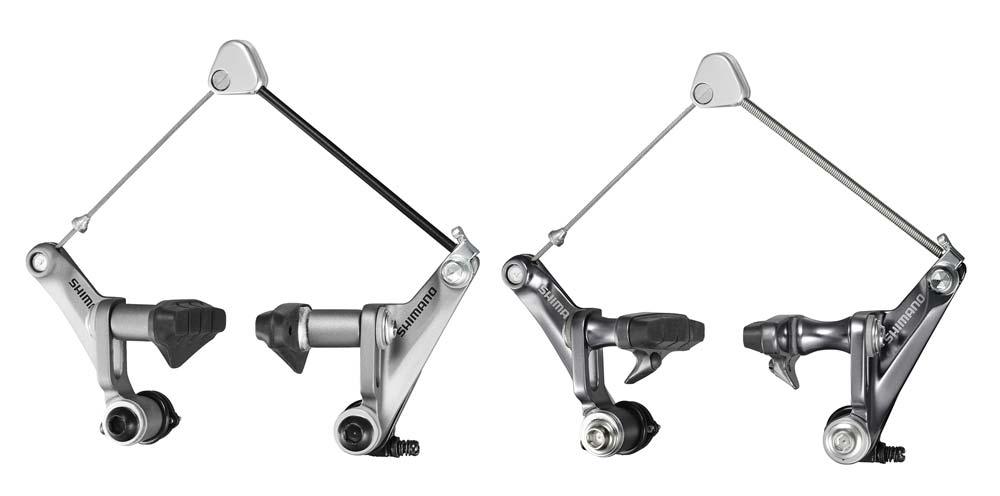 Shimano 2011-2012: balra a Shimano BR-CX50 ciklokrossz kanti fék, míg jobbra a BR-CX70 névre hallgató változat