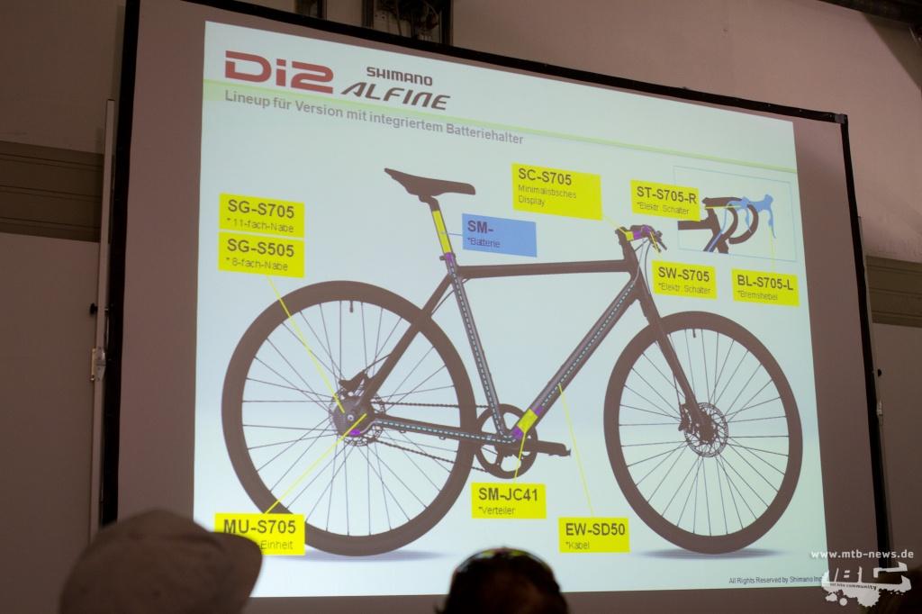 Elektromos Alfine-nal szerelt kerékpár vázlata