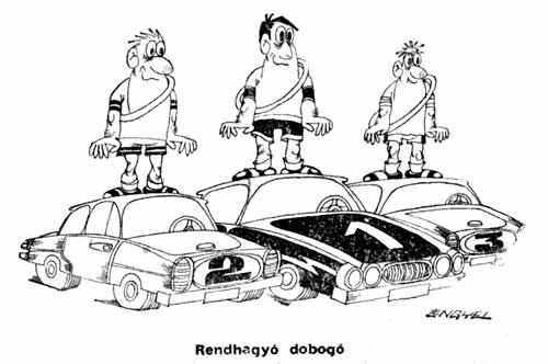 A Népsport karikatúristája ezt a találó rajzot rittyentette a korabeli cikk mellé