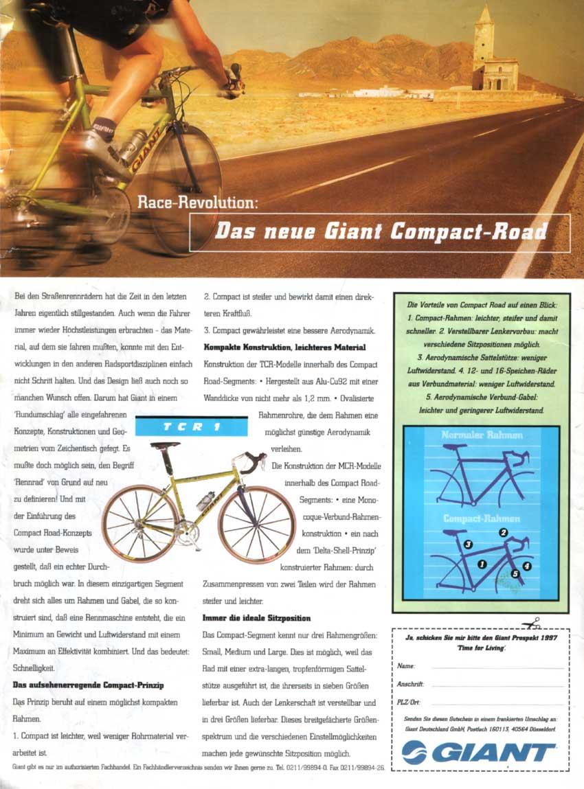 A Giant TCR-1 hirdetése egy 1997-es Tour magazinban – a kompakt geometria néven futtatott koncepció indította el a lavinát
