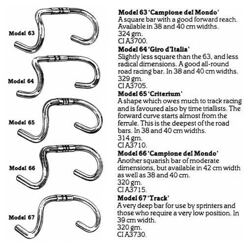 A Cinelli termékpalettája a hatvanas-hetvenes években – a rajzok sajnos nem túl jól szemléltetik az eltéréseket az egyes típusok között