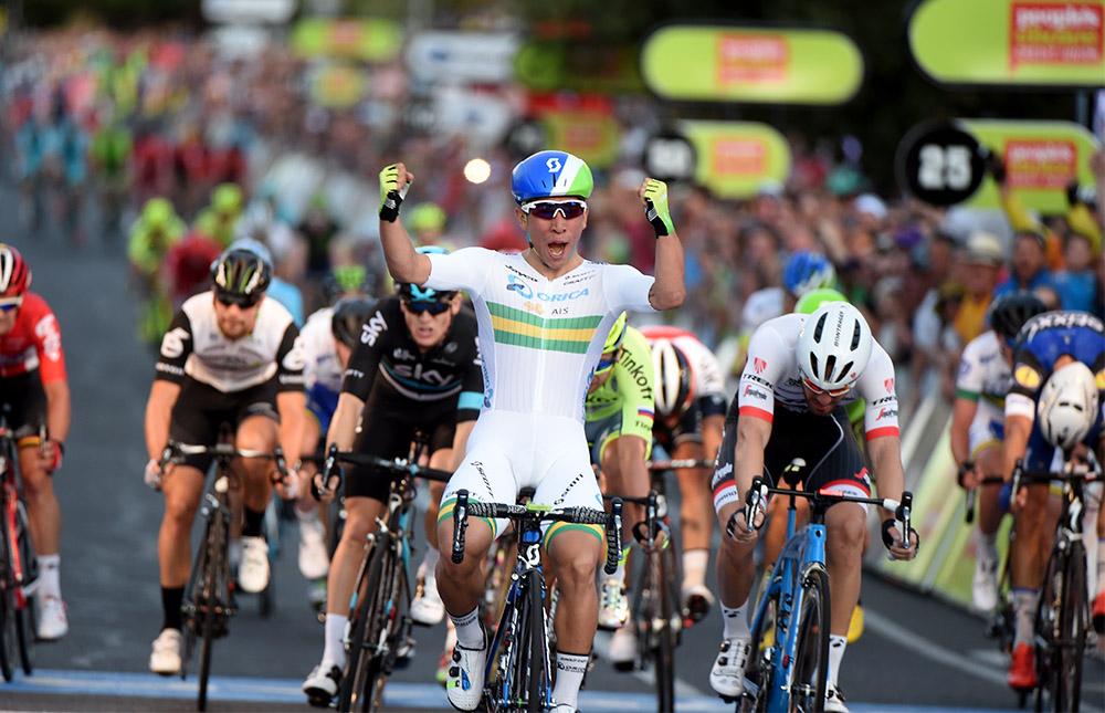 Caleb Ewan nyeri a People's Choice Classic-ot (fotó: tourdownunder.com.au)