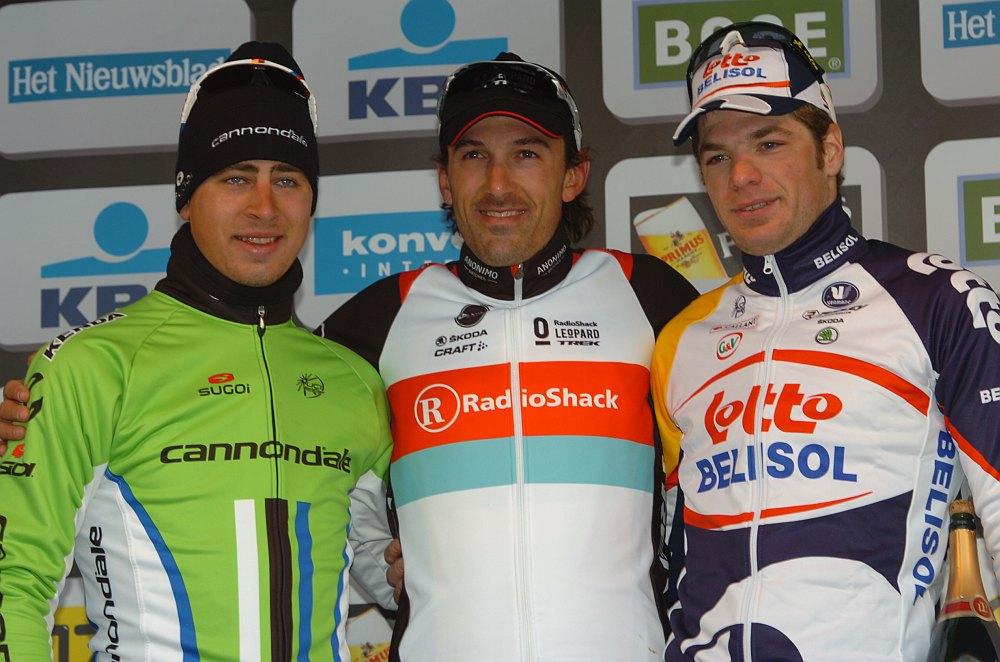 Cancellara, Sagan és Roelandts a dobogón (fotó: Stefano Sirotti - sirotti.it)