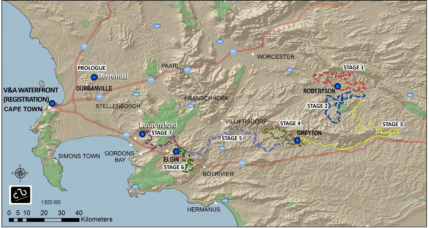 A 2014-es Cape Epic útvonala
