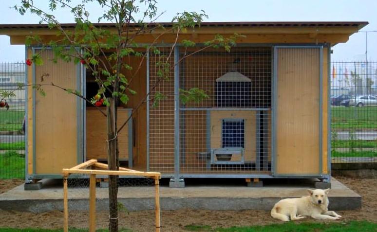 Több tucat infrafűtéssel rendelkező kennel áll a kutyák rendelkezésre...
