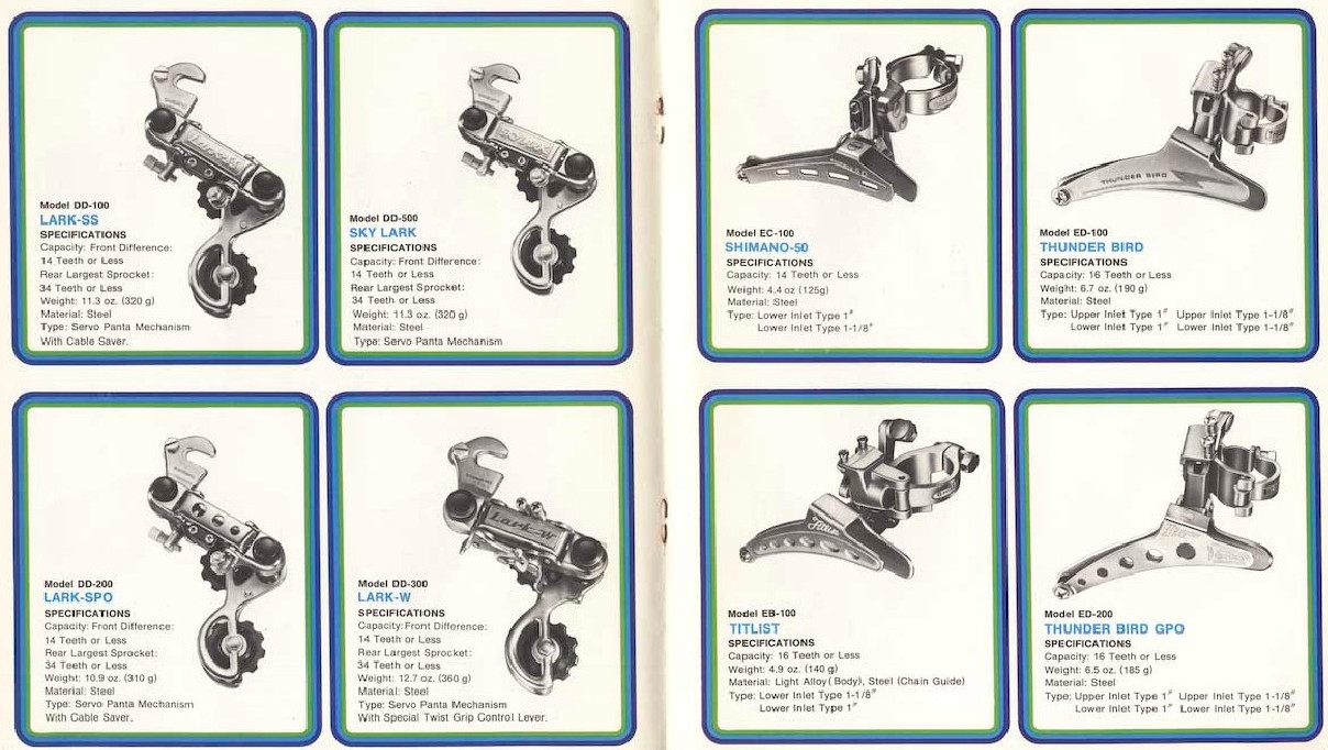 Ilyen volt a Shimano alkatrészkínálata a 70-es évek elején...
