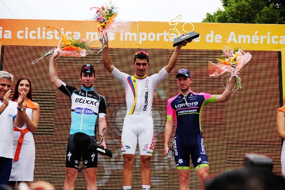 Mark Cavendish (Etixx-Quick Step), Fernando Gaviria és Sacha Modolo (Lampre Merida)