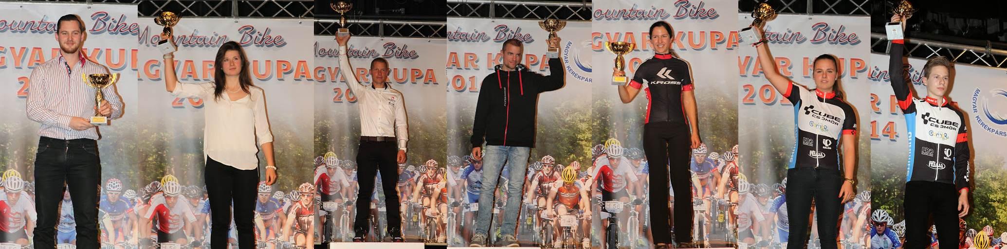 Az év mountain bike sportolói: Hegedűs László, Benkó Barbara, Parti András, Dósa Eszter, Blazsó Márton, Megyaszai Lilla, Kádi Tamás (Fotó: Rozgonyi Sándor)