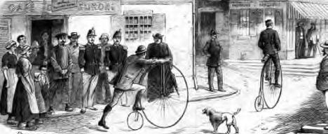 Ugyancsak az 1880-as években készült metszet két angol kerékpáros utazóról Franciaországban. A csodálkozó arcokból azt olvasható le, hogy vidéken, a szegényebb sorban élők körében nem volt túl gyakori látvány egy velocipéd