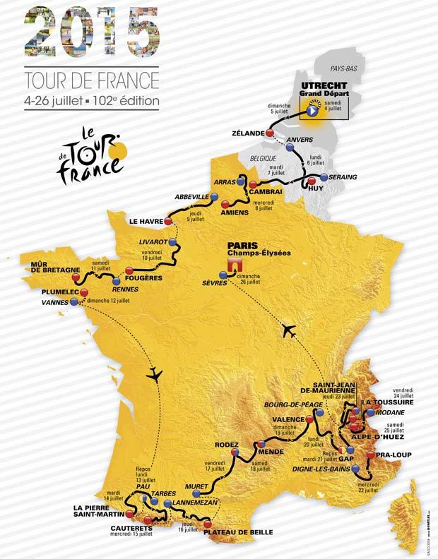 A 2015. évi Tour de France útvonala
