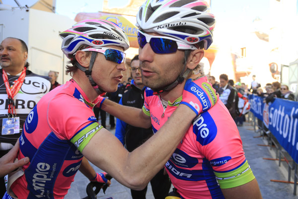 Settimana Internazionale di Coppi e Bartali 2013 2. szakasz, Diego Ulissi és Damiano Cunego (Lampre - Merida) – fotó: Roberto Bettini/BettiniPhoto©2013