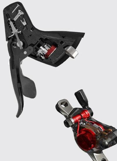 A SRAM már megbízhatóan működő hidraulikus tárcsafékrendszere egylőre mechanikus váltással...