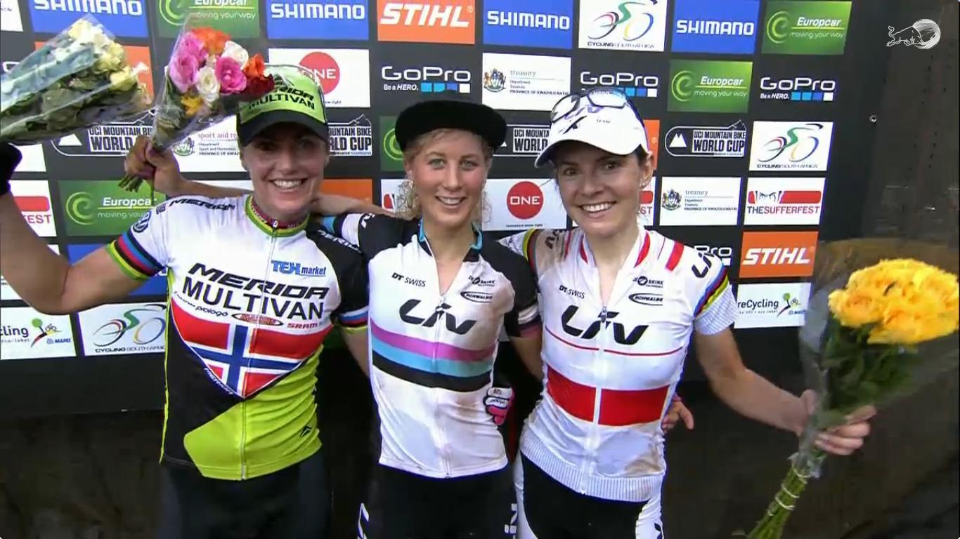 A női verseny első három helyezettje: 2. Gunn-Rita Dahle, 1. Jolanda Neff, 3. Maja Wloszczowska