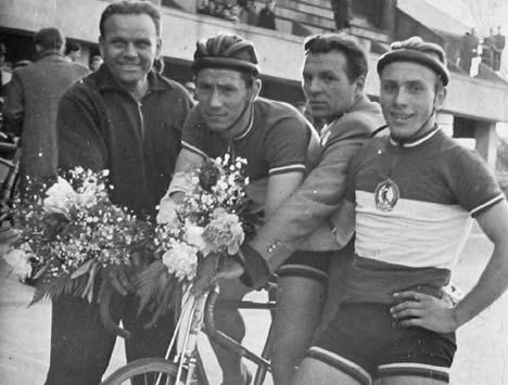 Schillerwein István (balról) és tandempartnere, Furmen Imre 1952-ben