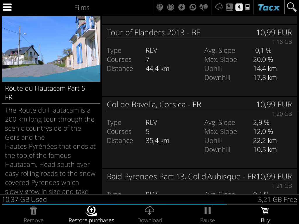 Az app esetében jobb árakon vannak a videók, de sok helyet foglalnak.