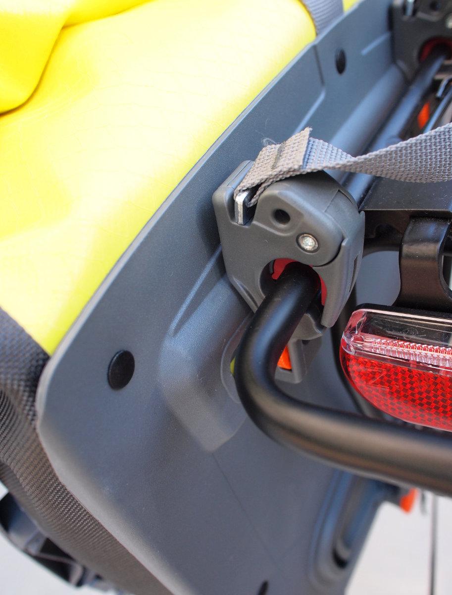 A profi rögzítésrendszeren látszik, hogy évtizedek óta bicajos felszereléssel foglalkozik a német márka!