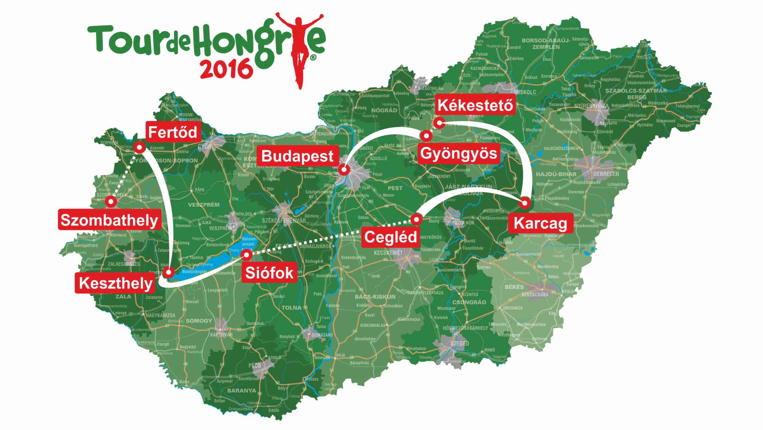 A 2016-os Tour de Hongrie útvonala