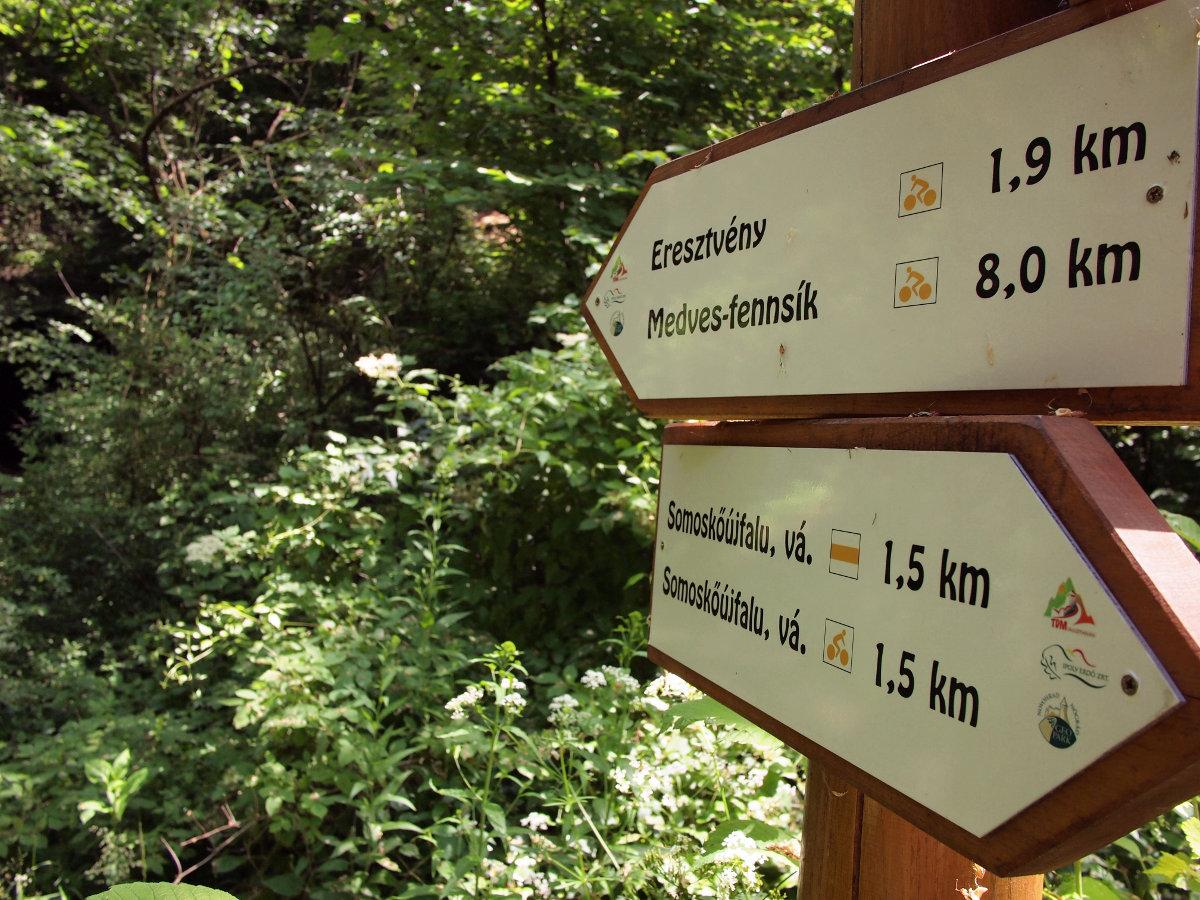Jól kijelölt kerékpáros útvonalak hálózata a Medvesben...