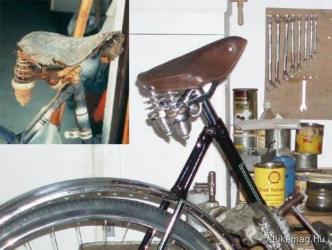 Wanderer kerékpár nyerge eredeti állapotban, mellette ugyanez a majdnem kész kerékpáron